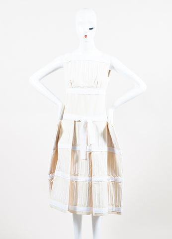 Bottega Veneta Cream and White Embroidered Stripe Belted Structured Dress  Frontview