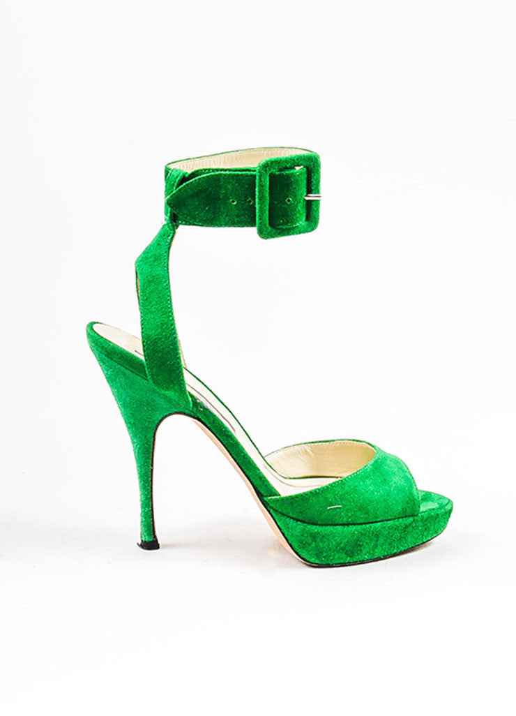 Green Brian Atwood Suede Ankle Strap Platform Sandals Side