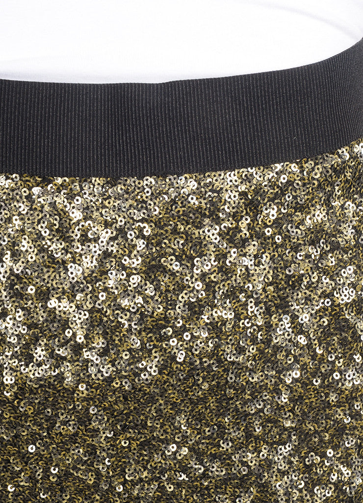 "By Malene Birger New With Tags Gold and Black Sequin Embellished ""Helic"" Skirt Detail"