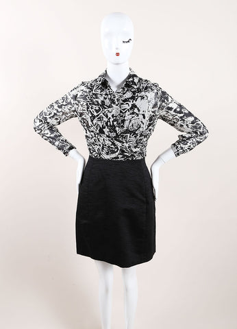 Black and White Long Sleeve Chiffon Print Dress
