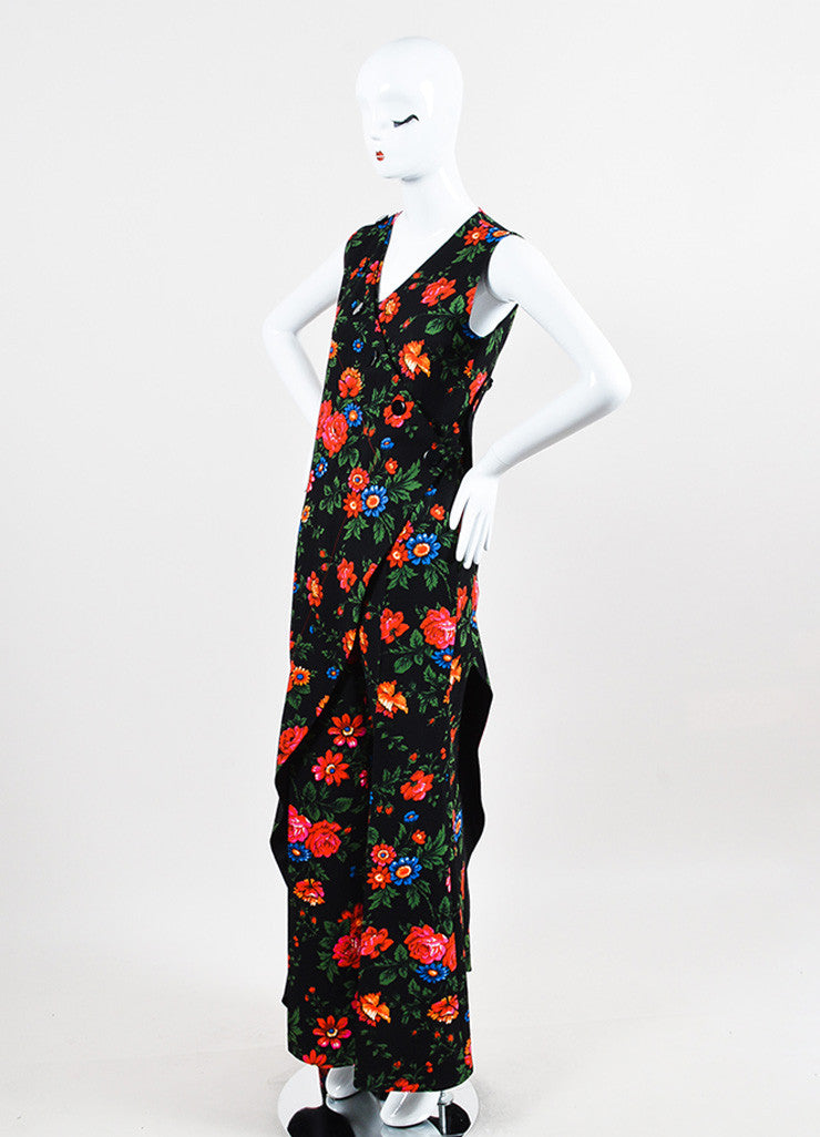 Celine Black and Multicolor Crepe Floral Draped Layered Pantsuit Sideview