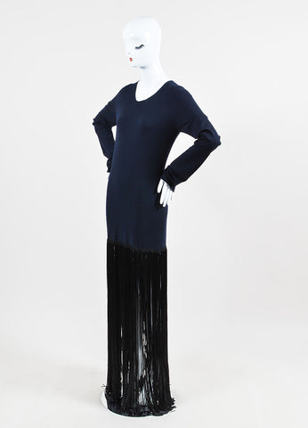 Navy Blue and Black Celine Wool Fringe Long Sleeve Dress Sideview