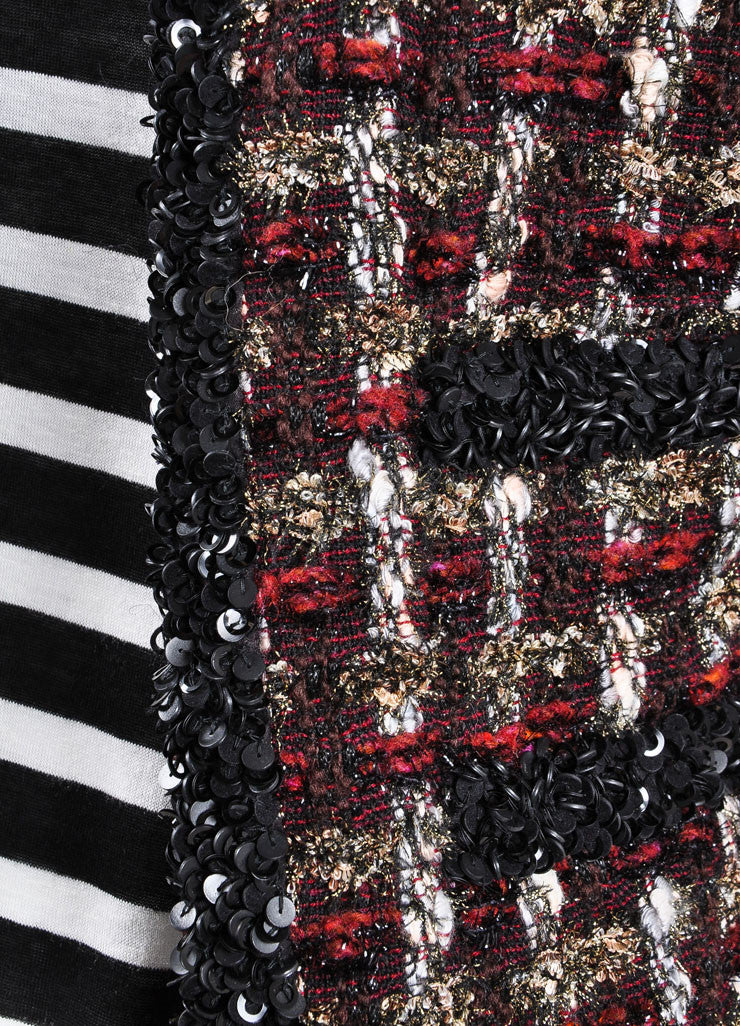 Chanel Dark Red and Black Wool Blend Metallic Woven Sequin Jacket Detail