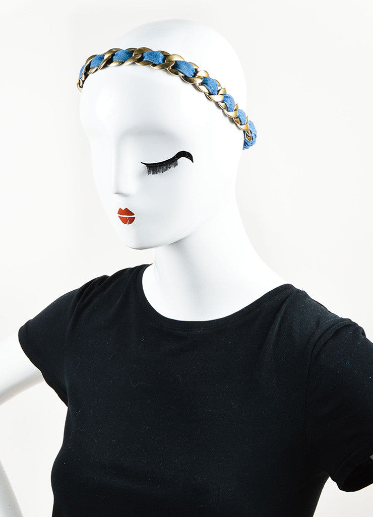 Chanel Gold Toned and Blue Denim 'CC' Logo Stretchy Chain Headband Sideview