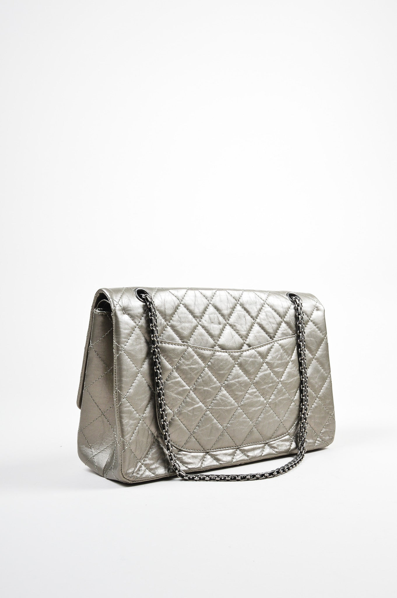 "Metallic Silver Leather Chanel ""2.55 Reissue 227"" Quilted Jumbo Flap Bag Backview"