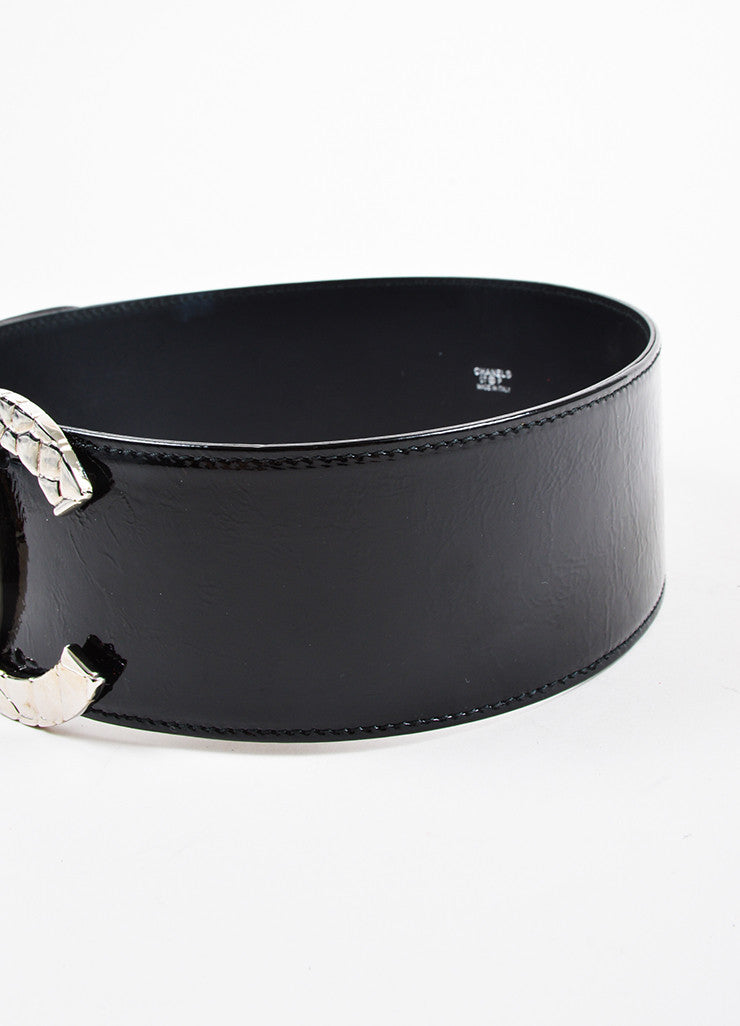 Chanel Black Crinkled Patent Leather Oversized 'CC' Logo Wide Belt Detail 2