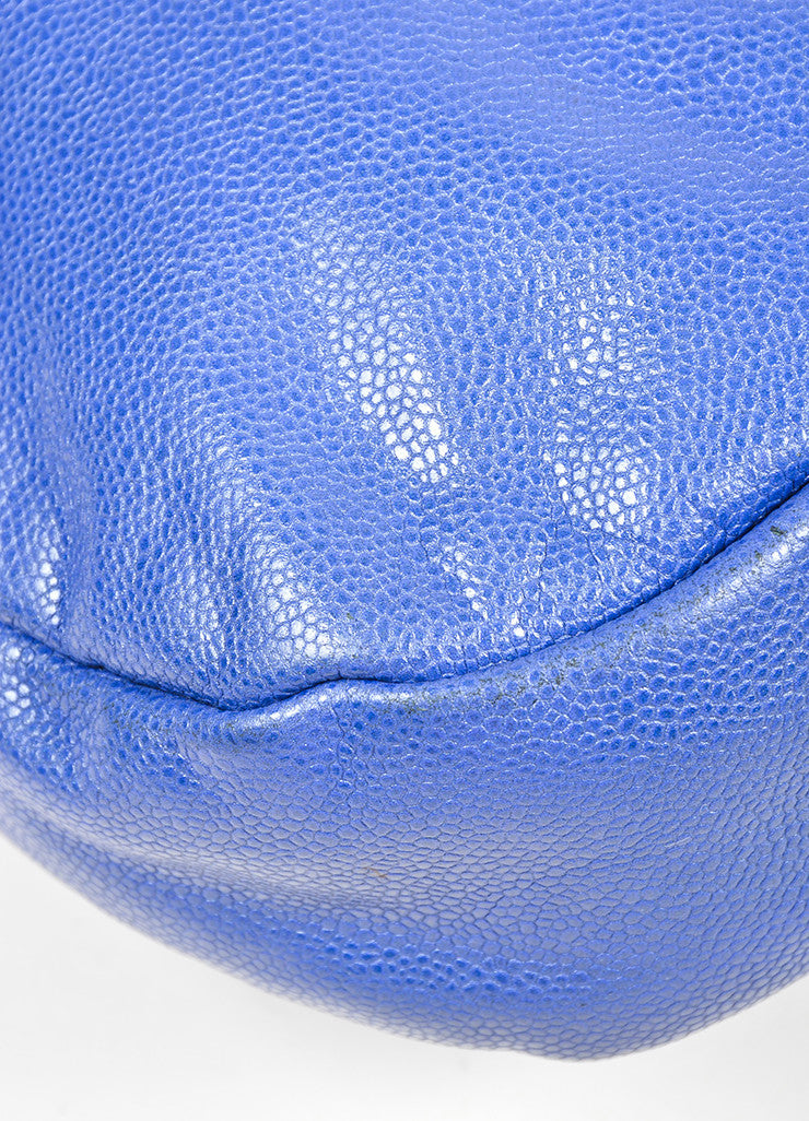 Cobalt Blue and Silver Toned Chanel Glazed Caviar Leather 'CC' Flap Hobo Bag Detail 2