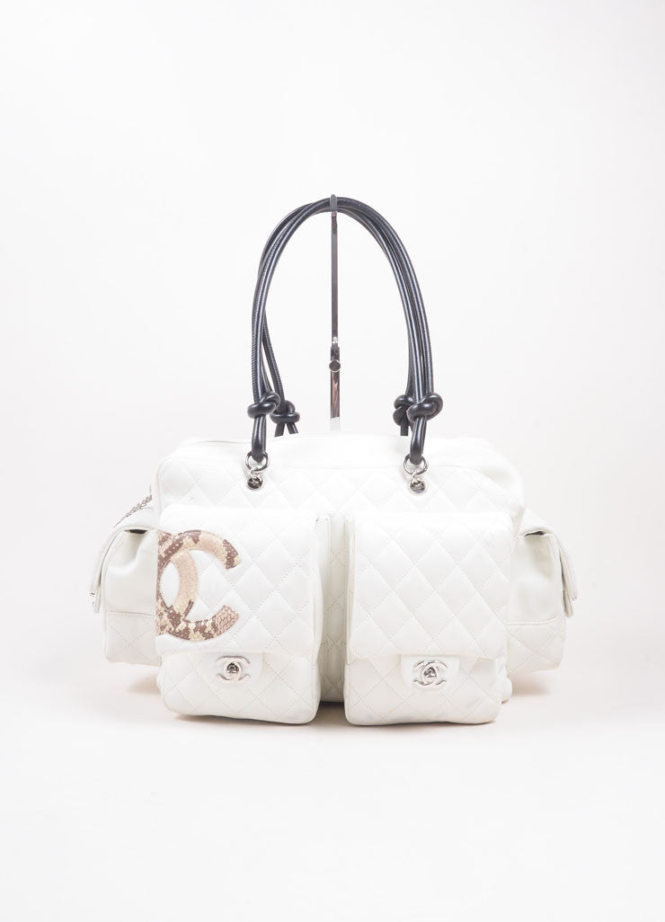 "Chanel Cream Leather ""CC"" Quilted ""Ligne Cambon Reporter"" Satchel Shoulder Bag  Frontview"