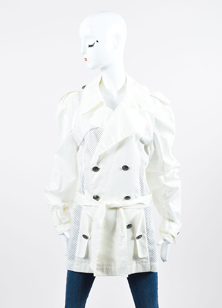 Cream Chanel Identification Belted Trench Coat