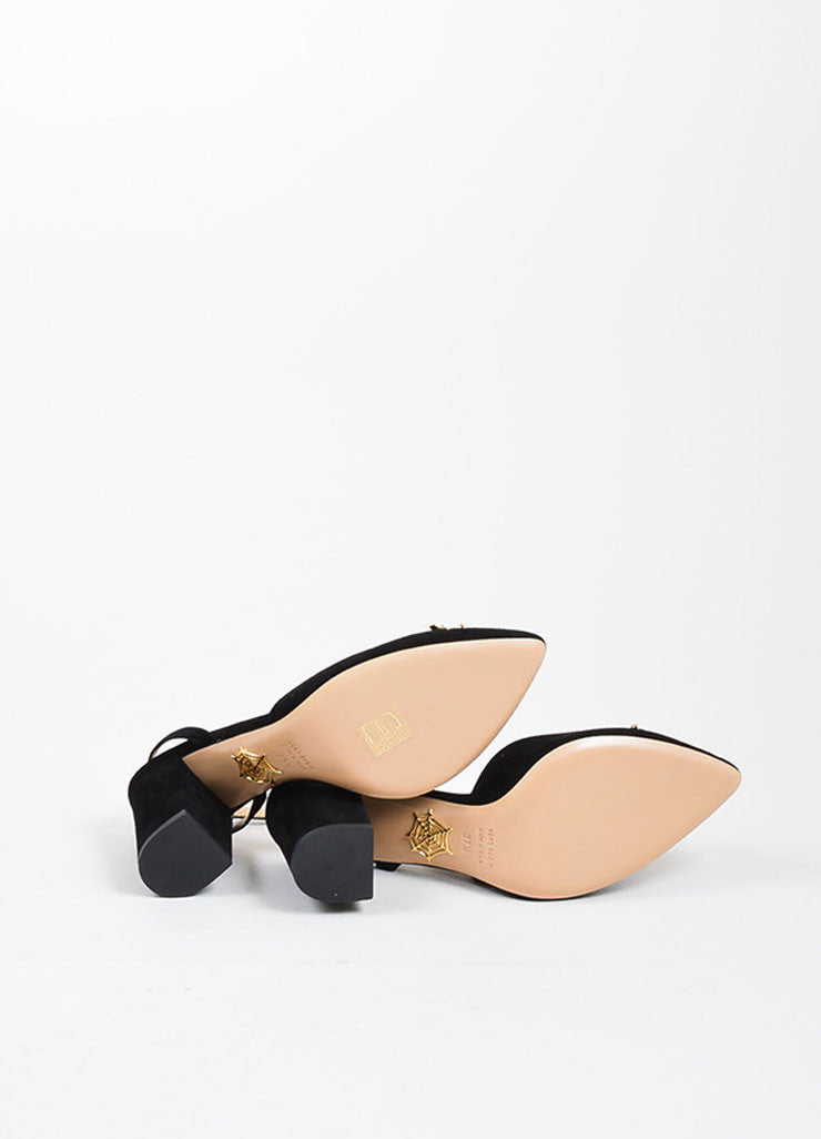 "Black Suede Charlotte Olympia ""Eileen"" Ankle Wrap Pumps Outsoles"