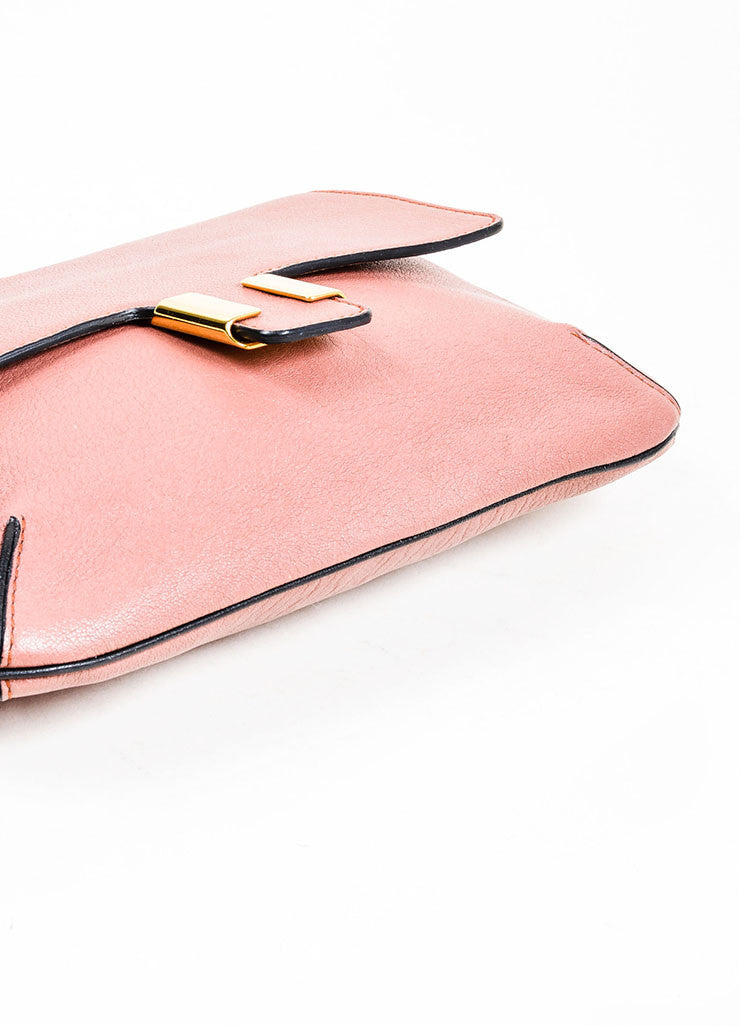 "Chloe ""Amelia"" Rose Pink Leather Gold Toned Flap Clutch Bag Bottom view"