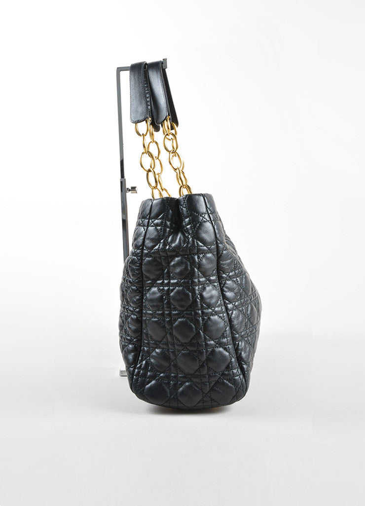 Christian Dior Black Quilted Leather Shopping Tote Side
