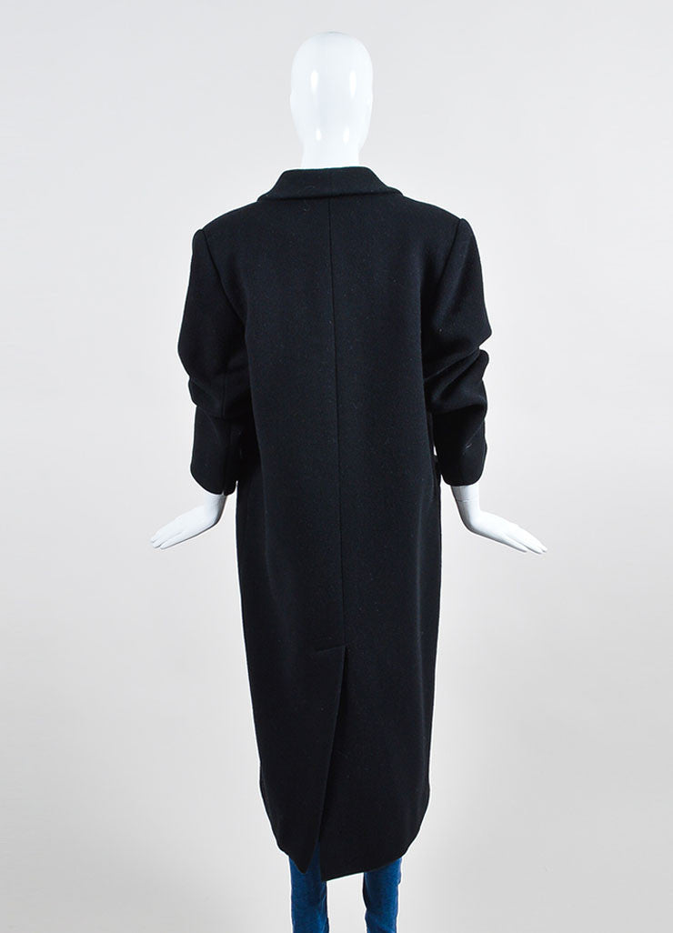 Black Christian Dior Wool Double Breasted Shawl Collar Full Length Coat Backview