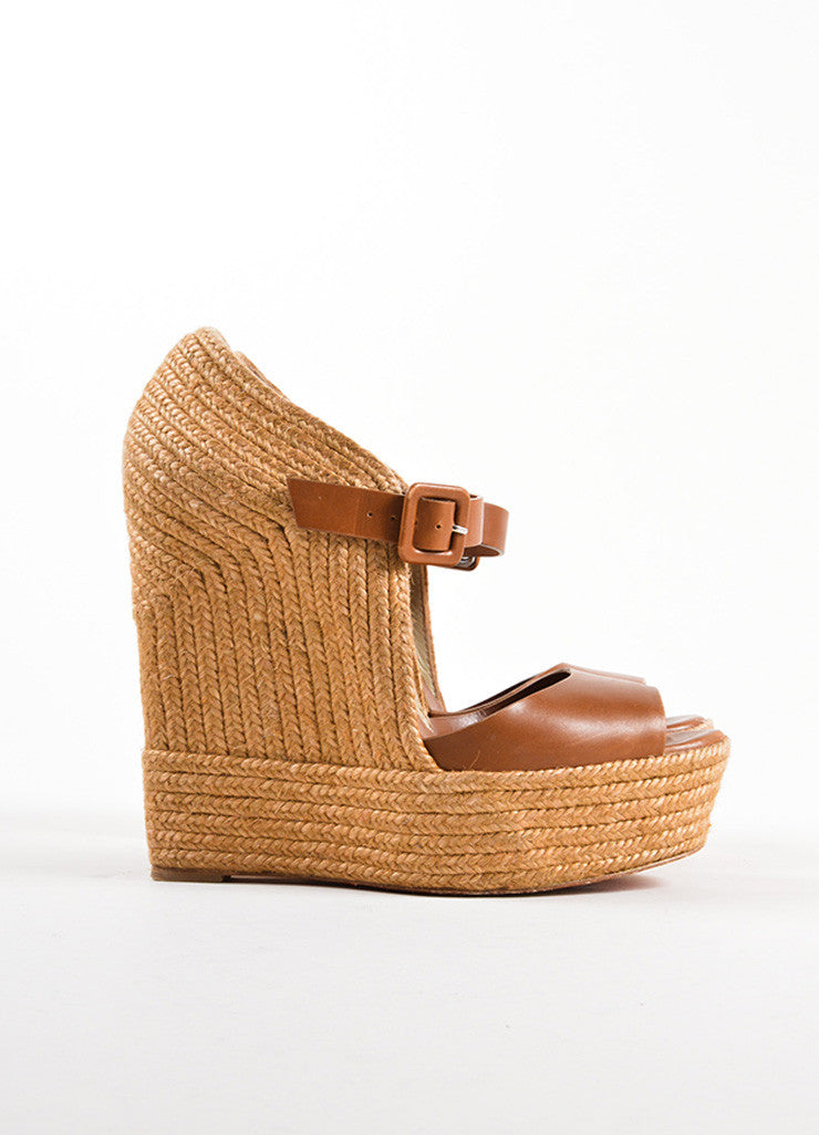 "Christian Louboutin Brown Leather ""Praia"" Platform Espadrille Wedges Sideview"