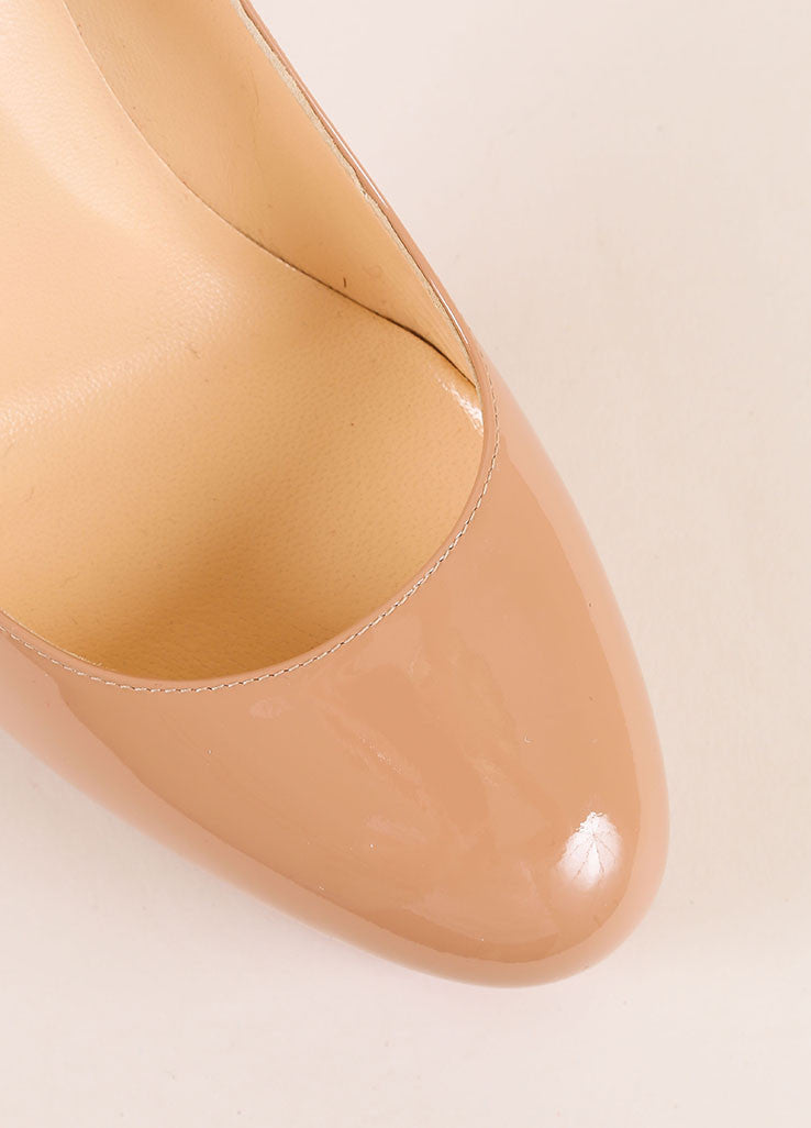 "Christian Louboutin New Nude Patent Leather ""Bianca 120"" Platform Pumps Detail"