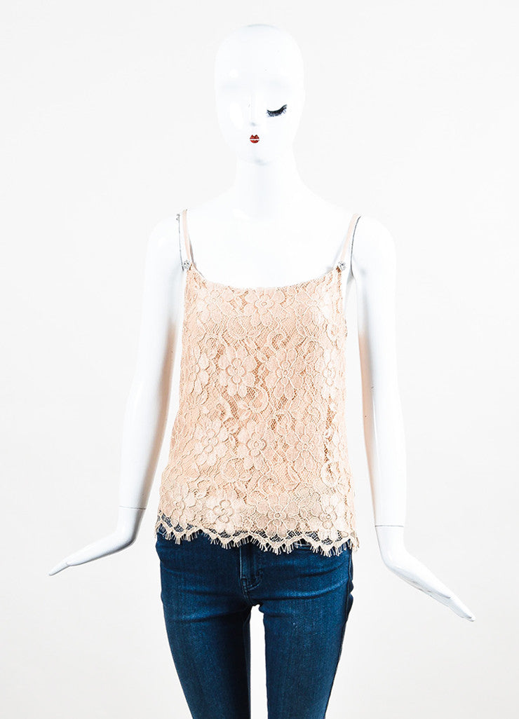 Nude Christopher Kane Floral Lace Rhinestone Camisole Tank Front