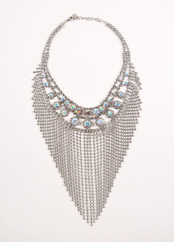 "Dannijo Silver Toned Iridescent Swarovski Crystal Fringe ""Anoushka"" Necklace Frontview"