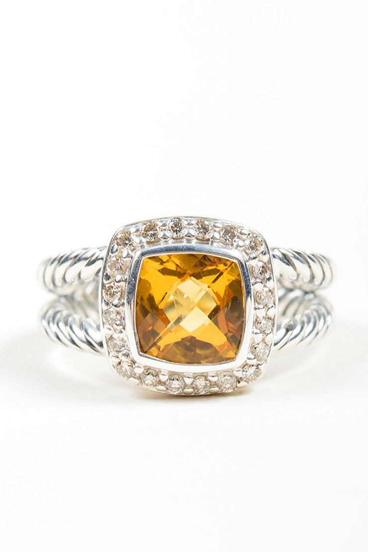"Stering Silver, Citrine, and Diamond David Yurman ""Petite Albion"" Ring Frontview"