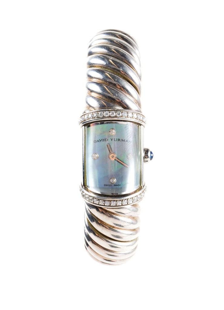 "David Yurman Sterling Silver and Diamond Pave Cable Cuff ""T209 M"" ""Waverly"" Watch Frontview"