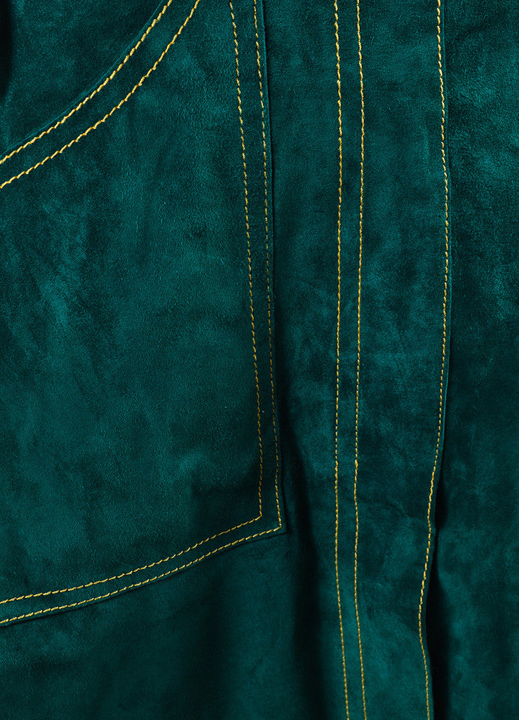 Derek Lam Green Suede Leather A Line Skirt Detail