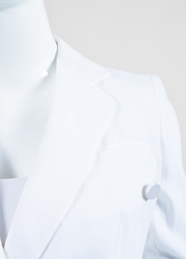 Dolce & Gabbana White Linen Double Breasted Jacket Detail