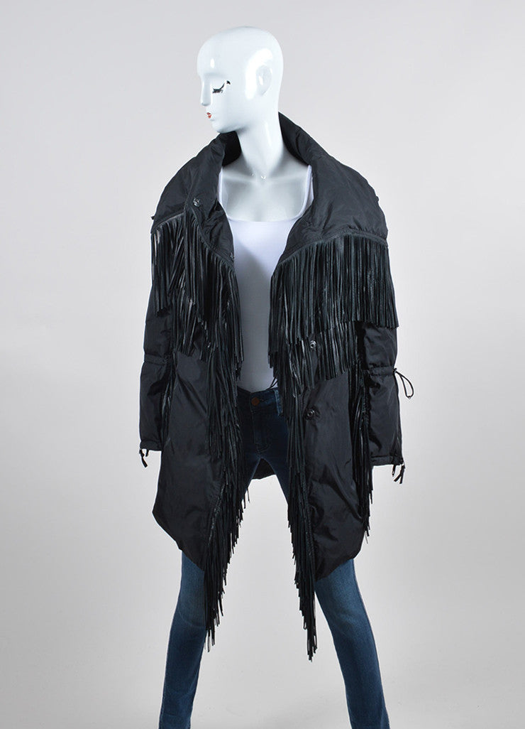 Black Ermanno Scervino Leather Fringe Down Coat Frontview