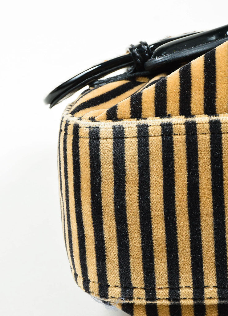 "Brown, Black, and Beige Fendi Leather and Velvet Striped and Leopard ""B"" Shoulder Bag Detail"