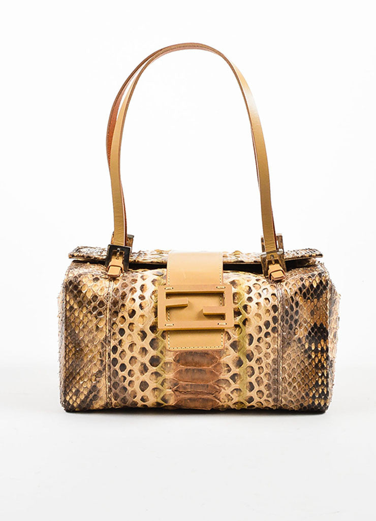 Brown and Beige Fendi Python Leather Box Bag Frontview