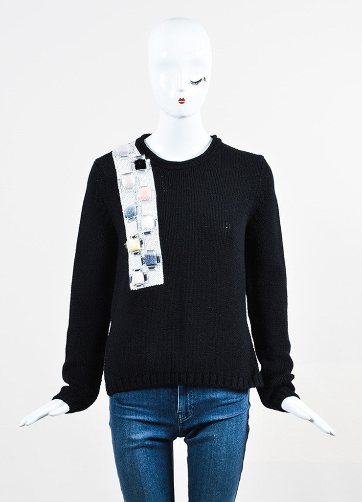 Black Fendi Cashmere and Mink Crystal Applique Pullover Sweater Frontview