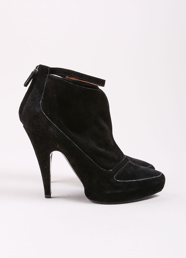 Givenchy Black Suede Leather Slit Ankle Strap Platform Booties Sideview