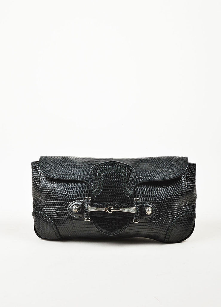 Gucci Black Leather Lizard Embossed Rhinestone Horsebit Pouch Clutch Bag Frontview