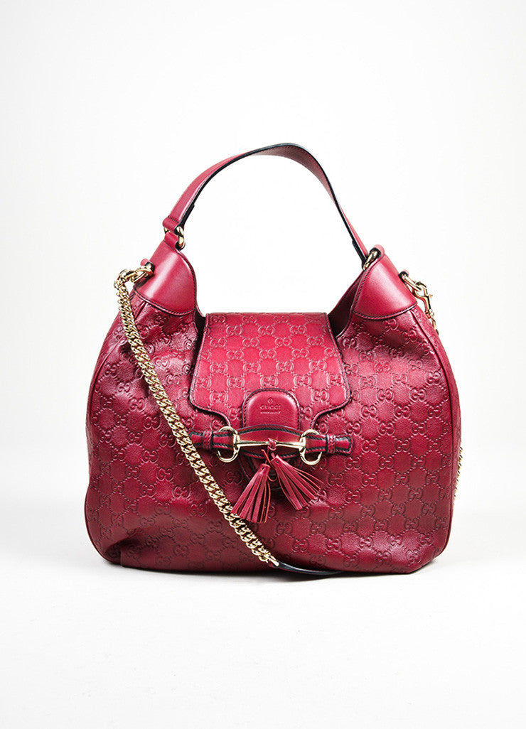 "Burgundy Plum Gucci ""Emily Guccisima"" Chain Strap Hobo Bag Frontview"