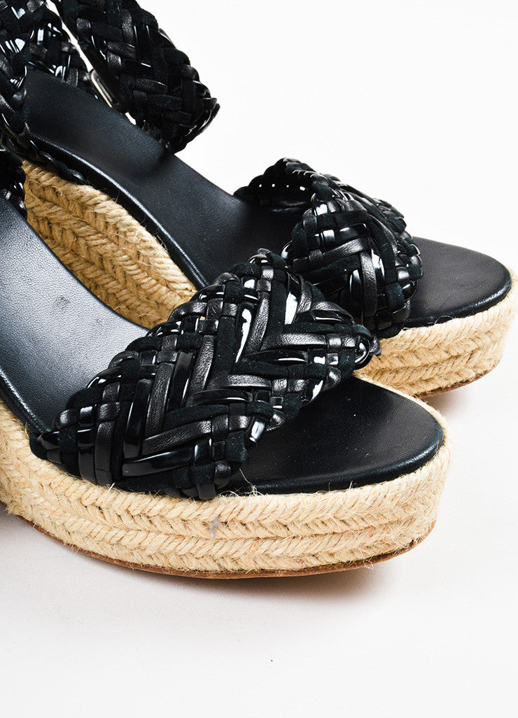 Hermes Black Contrast Woven Suede Patent Leather Espadrille Wedge Sandals Detail