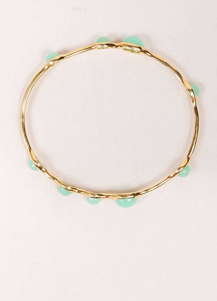 Ippolita 18K Gold and Green Chrysoprase Stone Embellished Bangle Bracelet Topview