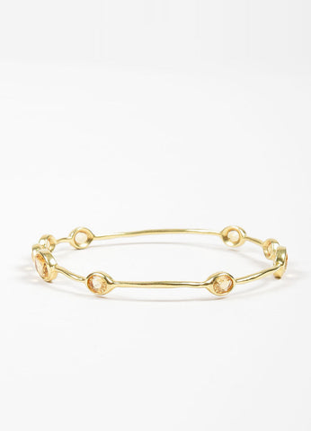 "18K Yellow Gold and Citrine 9 Stone Ippolita ""Rock Candy"" Bangle Bracelet Frontview"