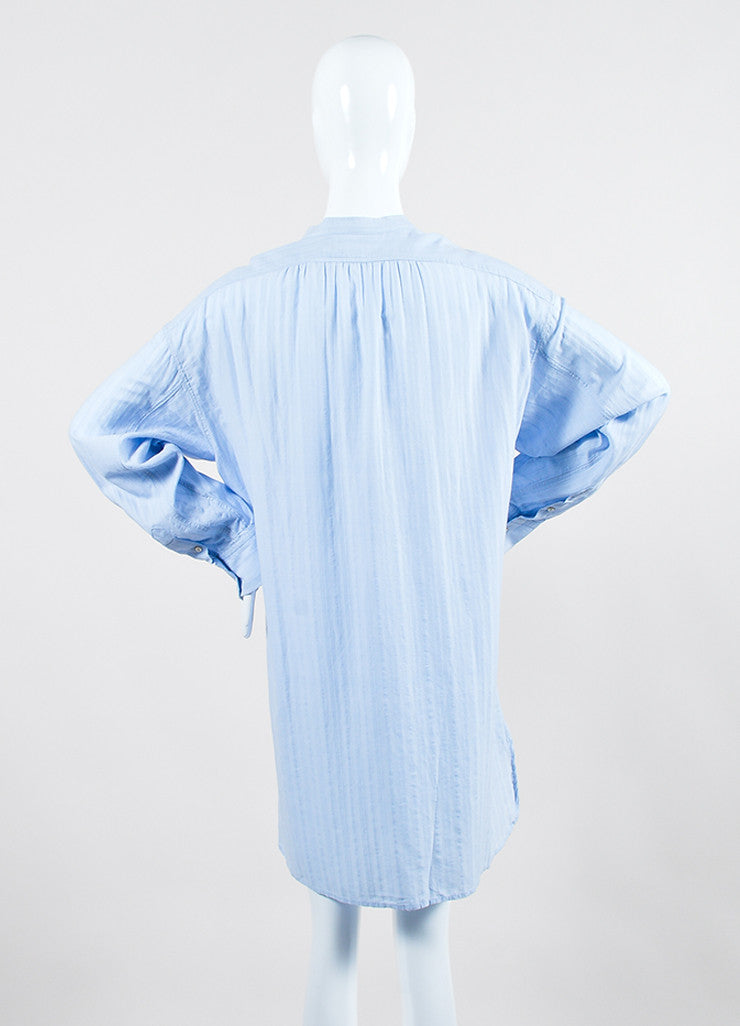 "Isabel Marant Etoile Light Blue Cotton ""Nita"" Long Sleeve Shirt Dress Backview"