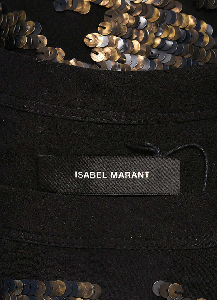 Isabel Marant New With Tags Black Silk Metallic Gold Sequin Tunic Top Brand