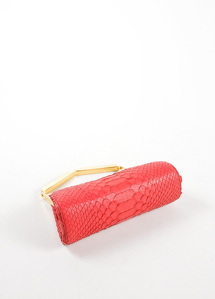 J. Mendel Raspberry Red Python Leather and Metal Clutch Bag Bottom View