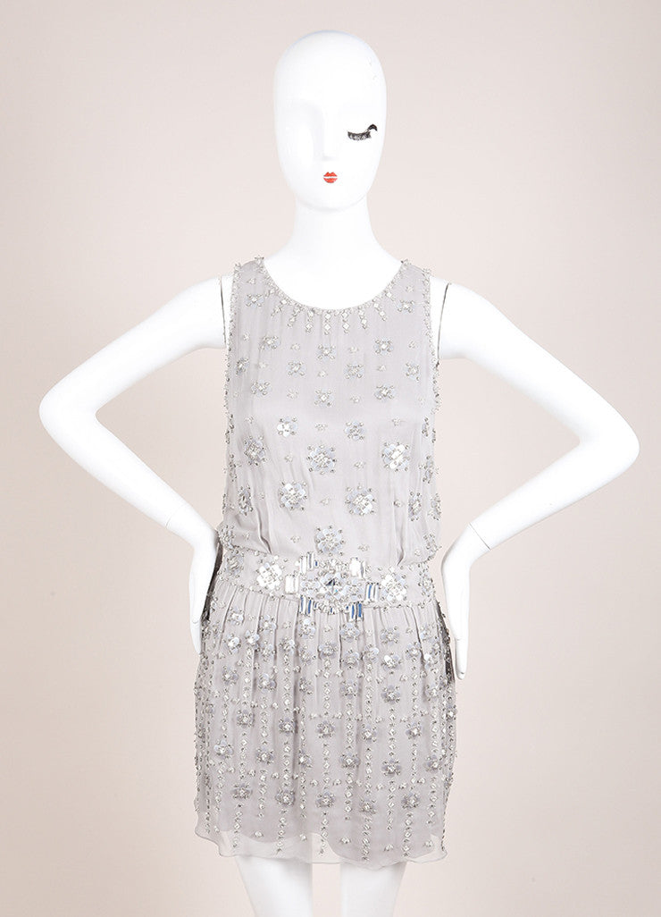 Jenny Packham Grey Silk Beaded Rhinestone Embellished Mini Dress Frontview