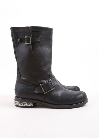 Jimmy Choo Black Distressed Leather Rhinestone Heel Buckle Biker Boots Sideview