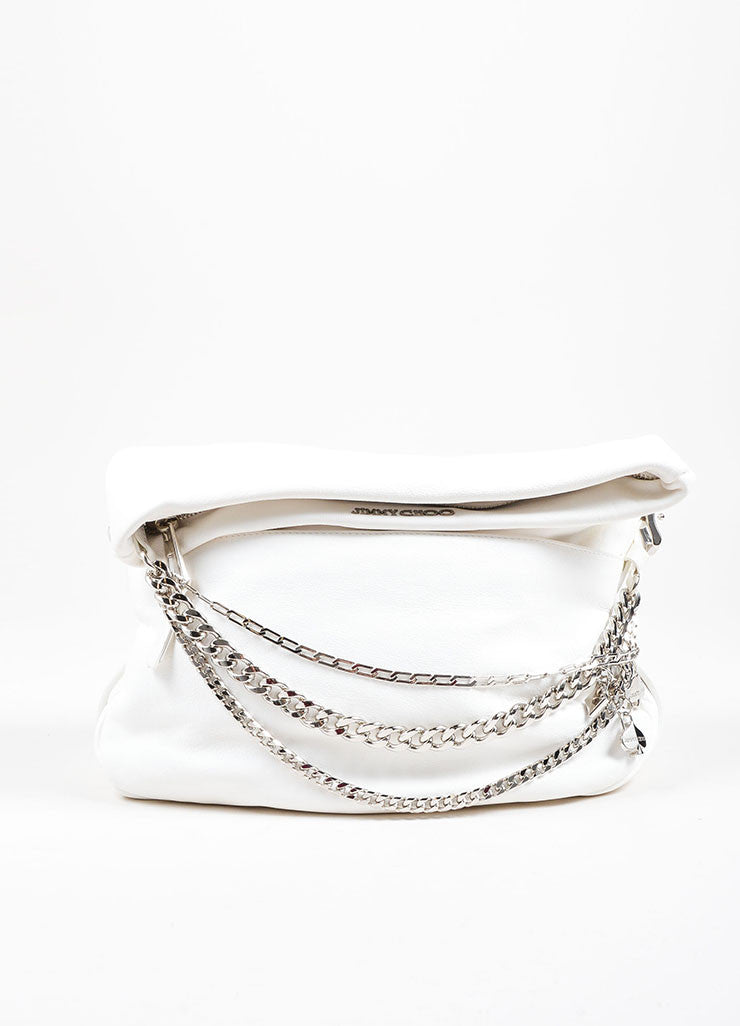 Jimmy Choo White Leather Silver Tone Chain Charm Foldover Shoulder Bag Front