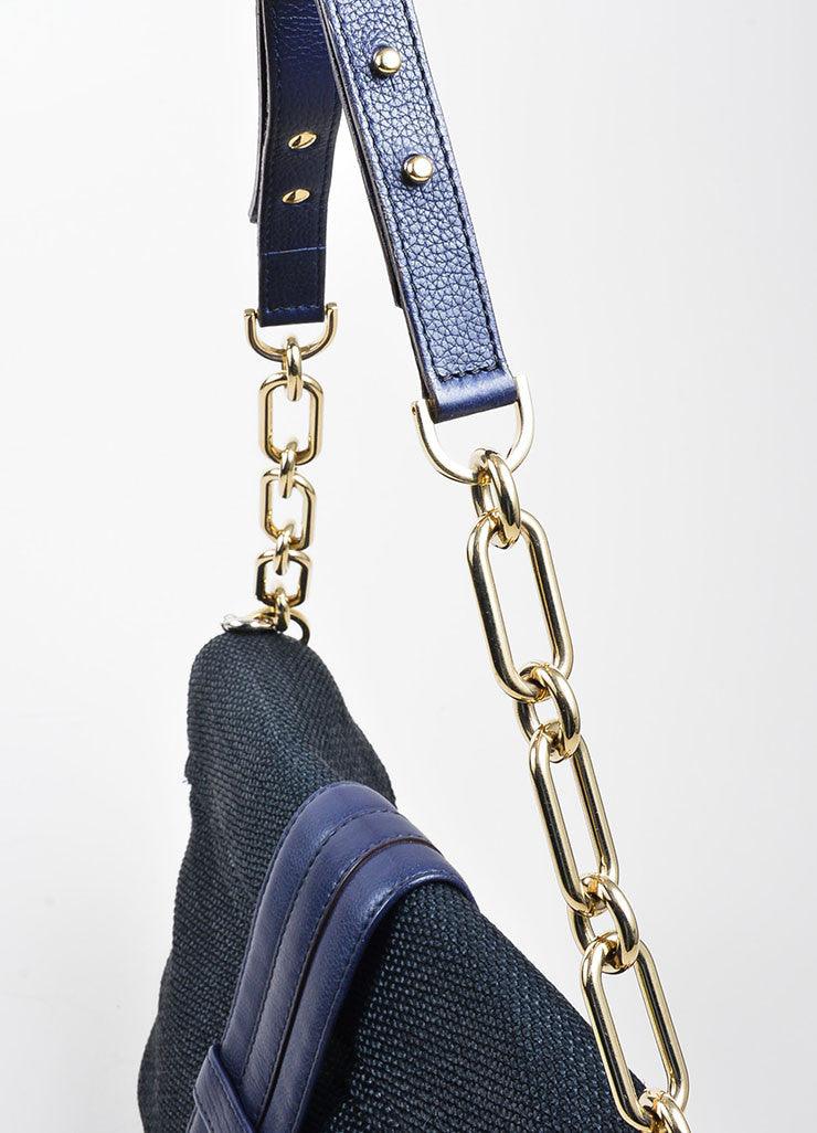 "Black and Navy Blue Lanvin Woven Leather ""Hero"" Chain Shoulder Bag Detail 2"