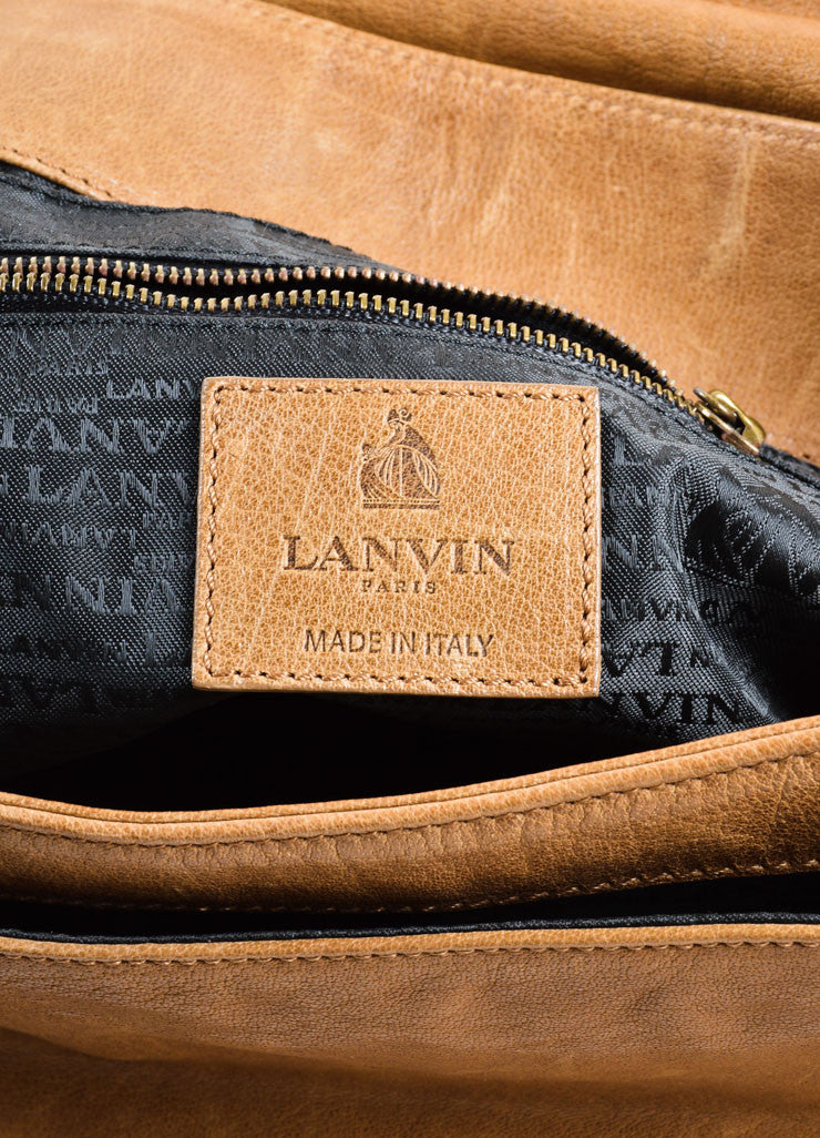 "Lanvin Brown Grained Chevre Leather Bow Chain ""Happy"" Shoulder Bag Brand"