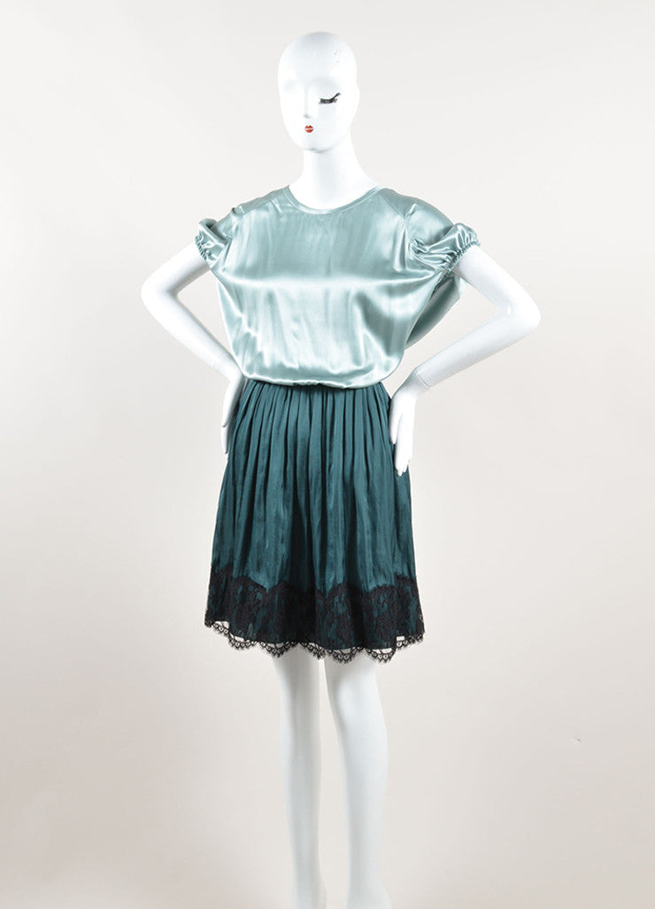 Lanvin Green and Black Silk Contrast Pleated Dress Sideview