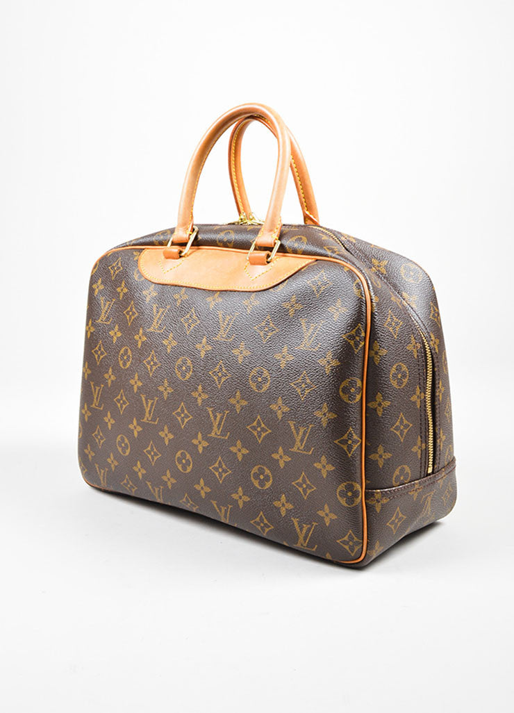 "Brown and Tan Louis Vuitton Coated Canvas Monogram ""Deauville"" Travel Handbag Sideview"