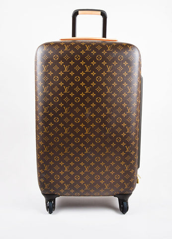 "Louis Vuitton Brown Coated Canvas Monogram ""ZEPHYR 70"" Trolley Luggage frontview"