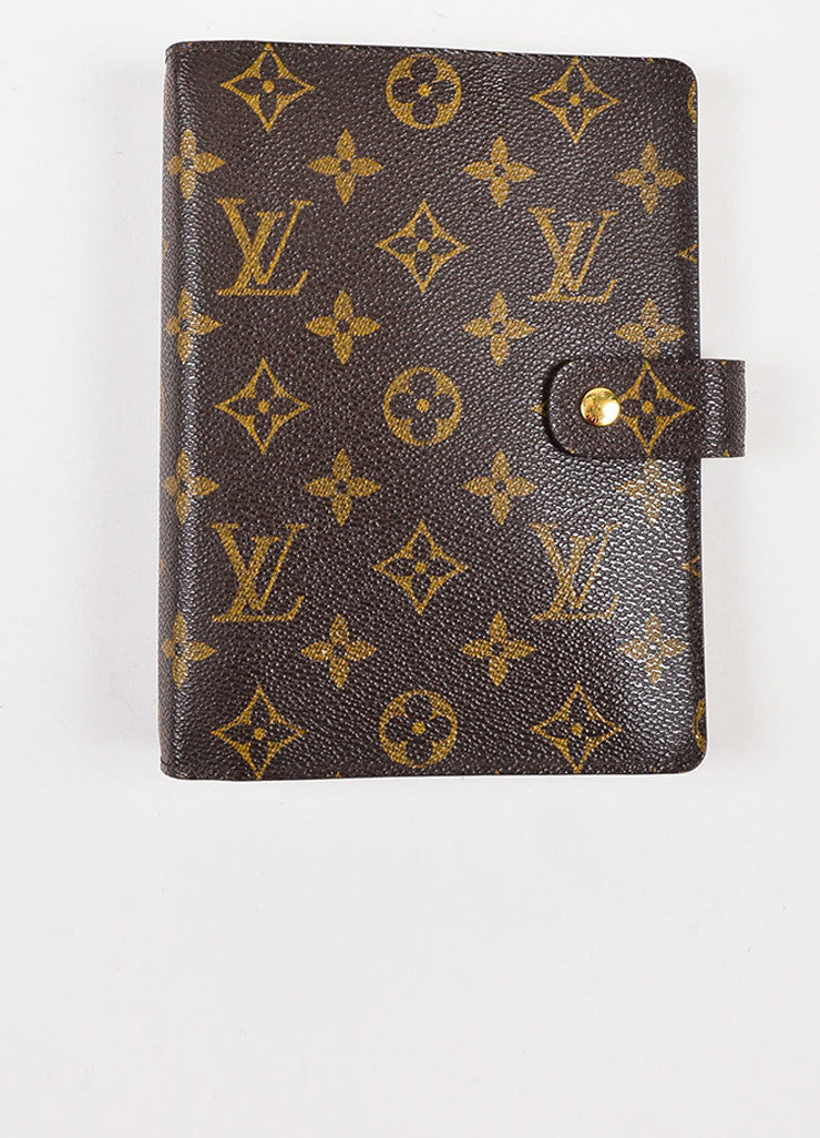 Brown Louis Vuitton Coated Canvas Monogram Medium Ring Agenda Cover Front
