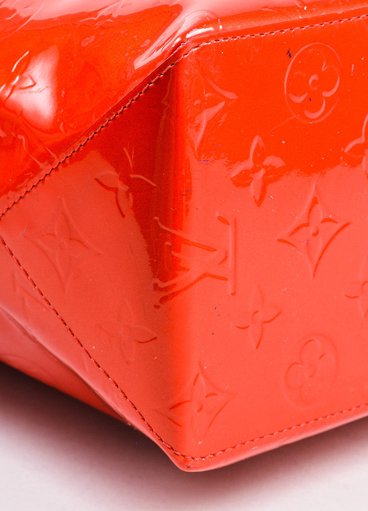 "Louis Vuitton Red Vachetta and Vernis Leather Monogrammed ""Reade MM"" Tote Bag Detail"