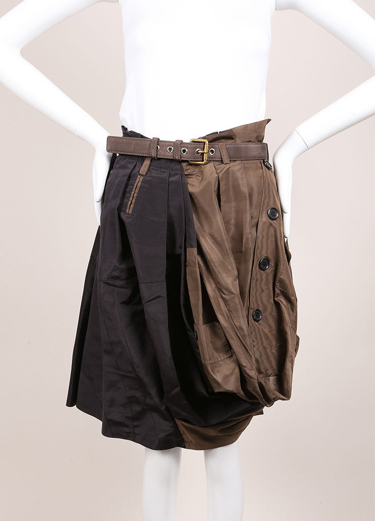 Louis Vuitton Black and Brown Silk Pleated Button Bubble Hem Belted Skirt Frontview