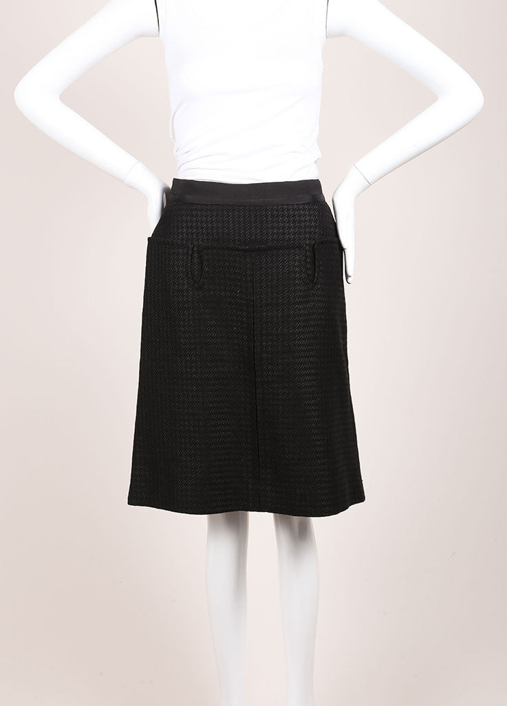 Louis Vuitton Black and Grey Wool and Linen Blend Houndstooth A-Line Skirt Frontview